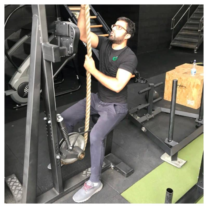 Asad Hafeez using battle ropes in a personal training session in Leeds