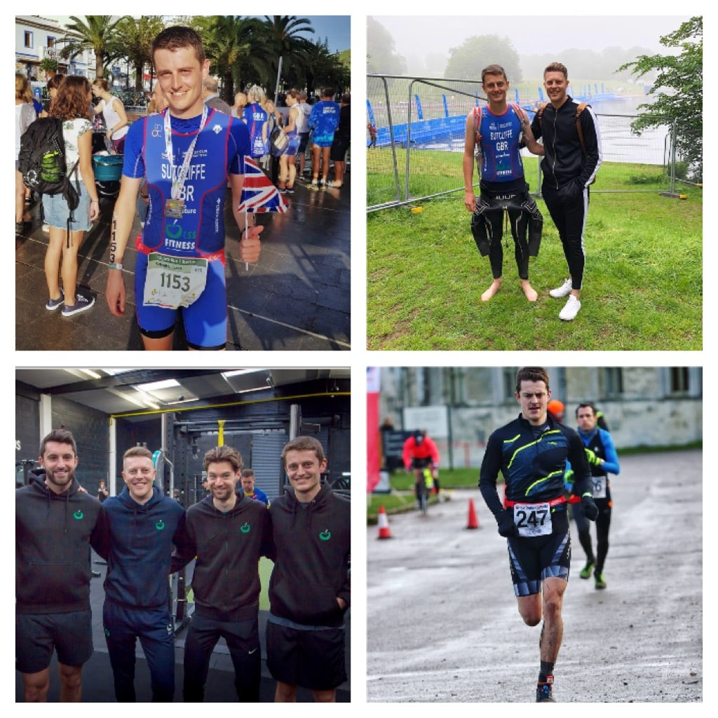 Collage of Lukas Sutcliffe running a race and posing after completing